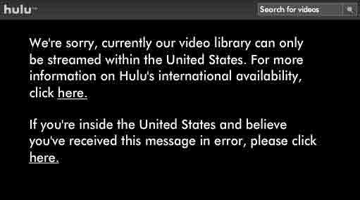 Hulu blocked - We're Sorry Hulu Error Message
