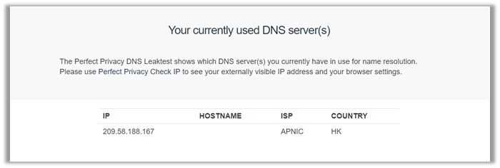 NordVPN DNS Leak Test