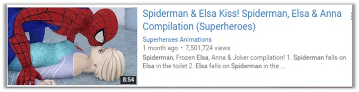 Spiderman and Elsa Kiss