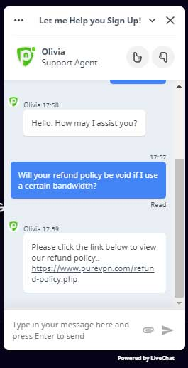 Worse PureVPN Chat support