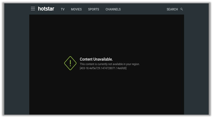 Hotstar Content Unavailable