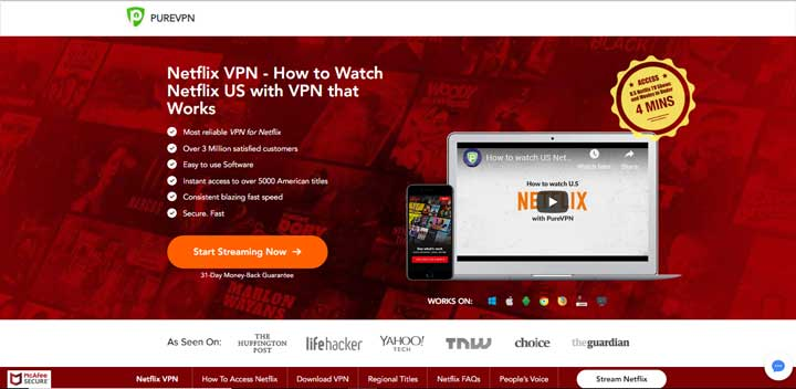 PureVPN unblocking Netflix