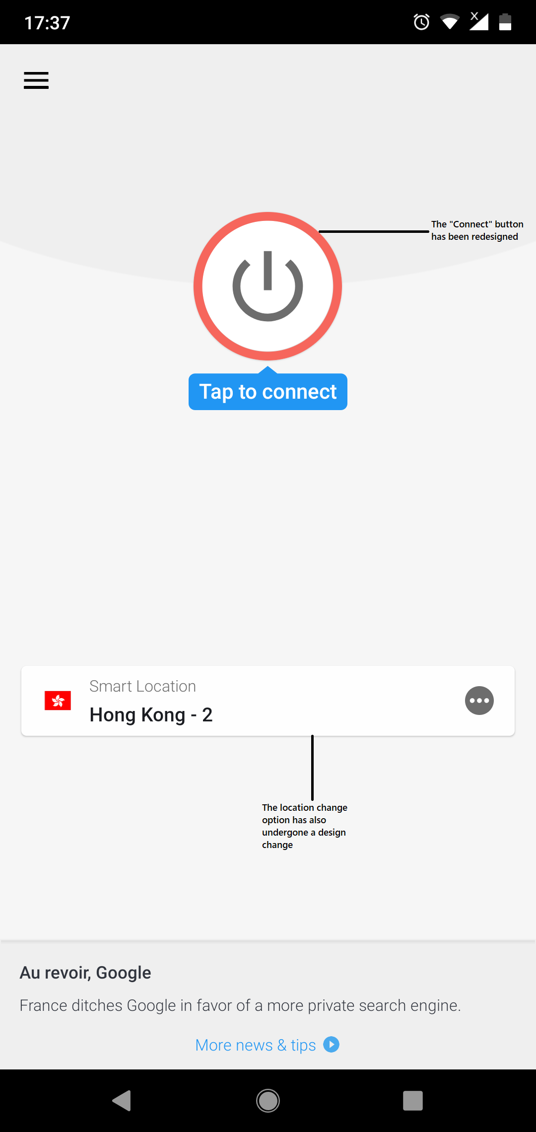 ExpressVPN Android App Re-design