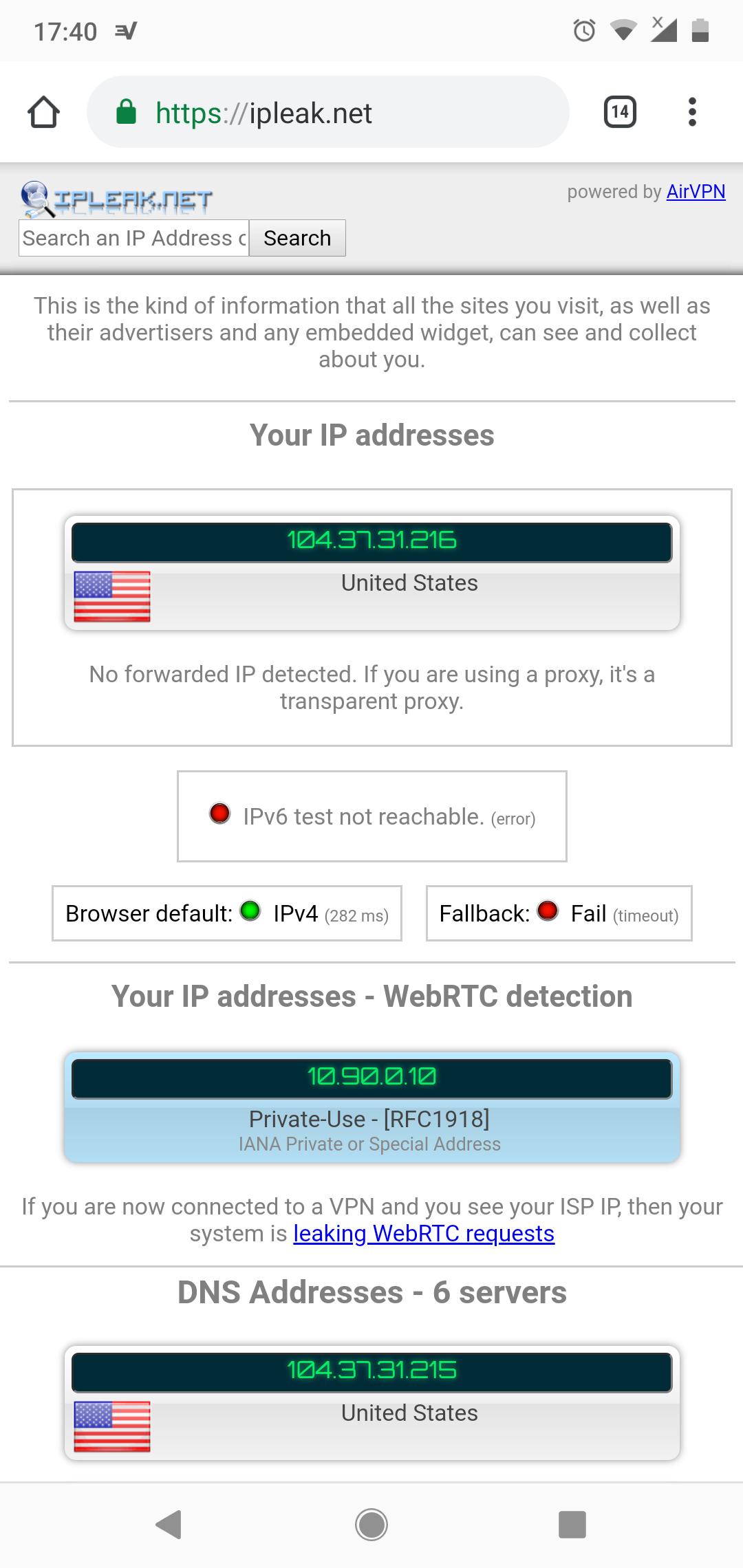 ExpressVPN App WebRTC Leak Test