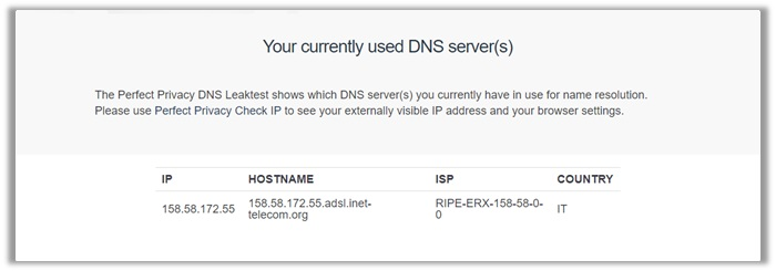 IVPN DNS Leak Test