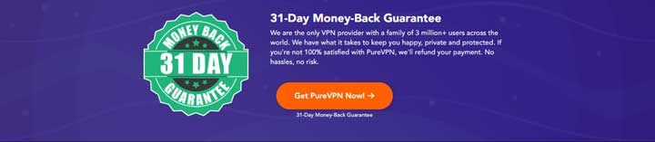 PureVPN 31 Days Money Back Guarantee