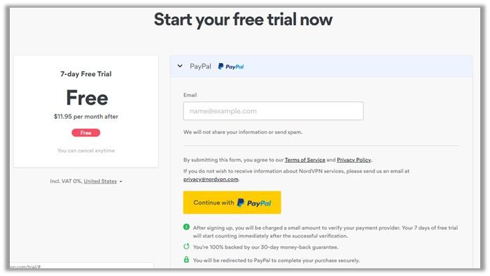 NordVPN Free Account
