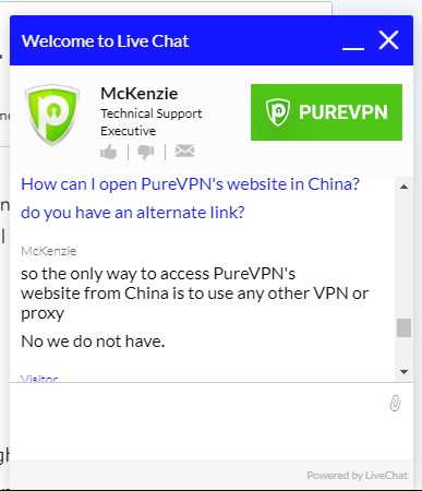 PureVPN in China