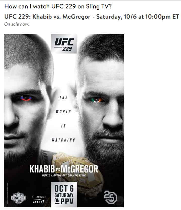 Watch UFC 229 on sling TV