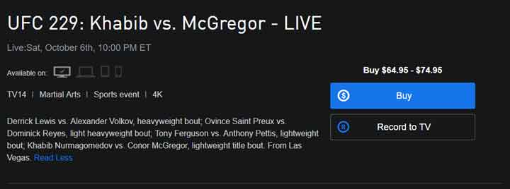Watch UFC Fight 22 on DirecTV Now