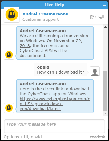 cyberghost live support