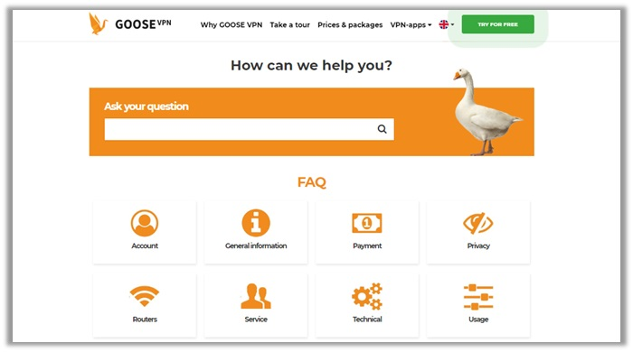 GOOSE VPN Support Review