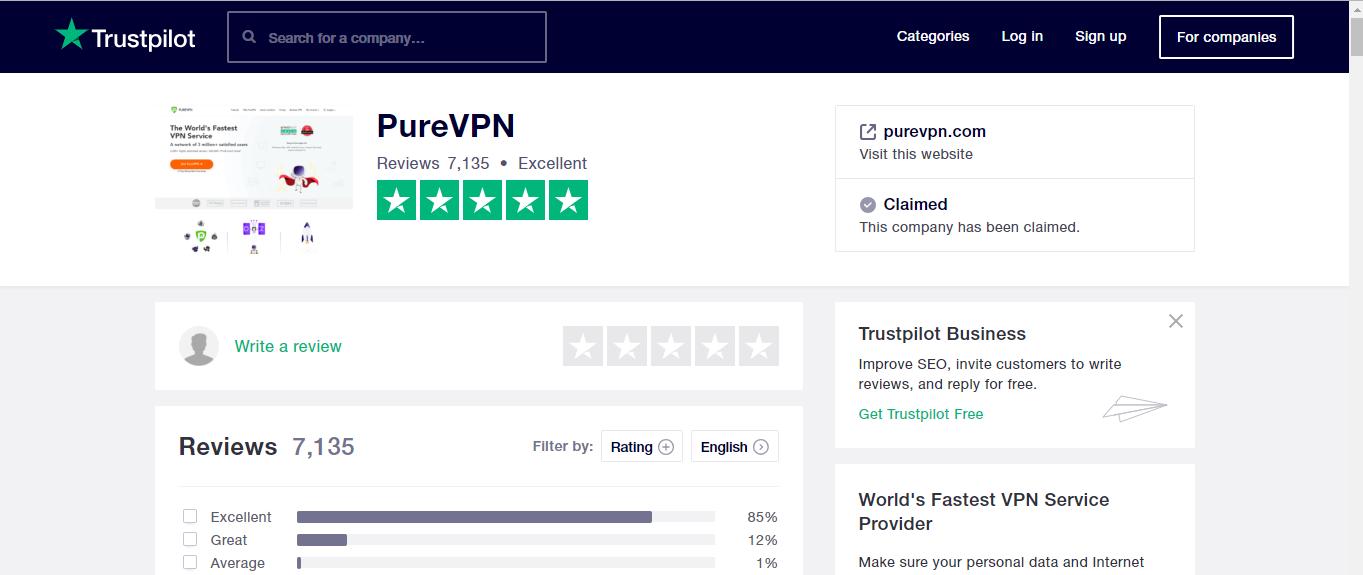 PureVPN trustpilot review