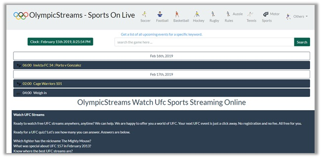 Olympic Streams for UFC 235