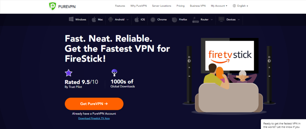 how to use purevpn on firestick