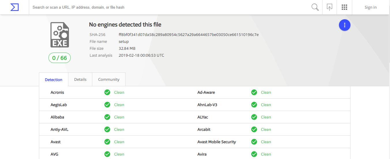 no virus detected on purevpn windows app