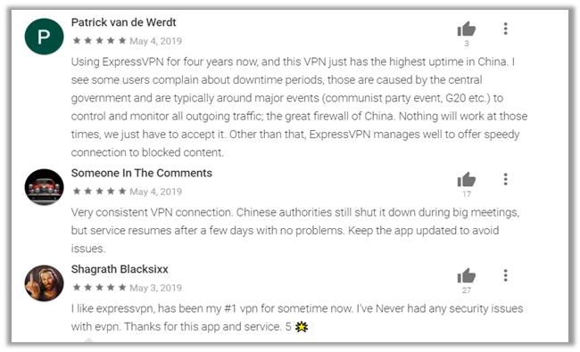 ExpressVPN Google Play Store Reviews