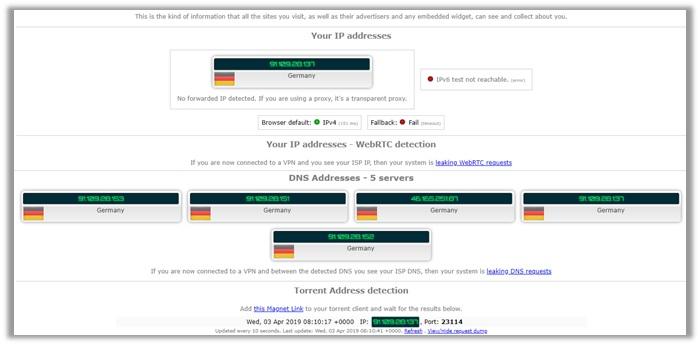 ExpressVPN IPLeak Test Germany Server