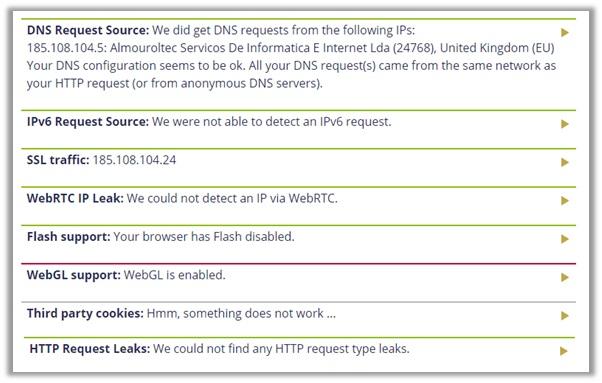 IPVanish DoILeak Test UK