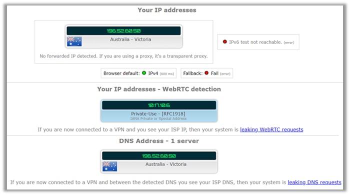 PIA IPLeak Test Australia