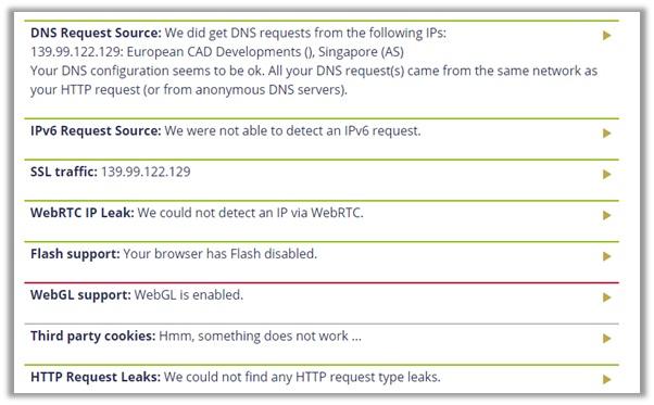 TunnelBear DoILeak Test Singapore Server