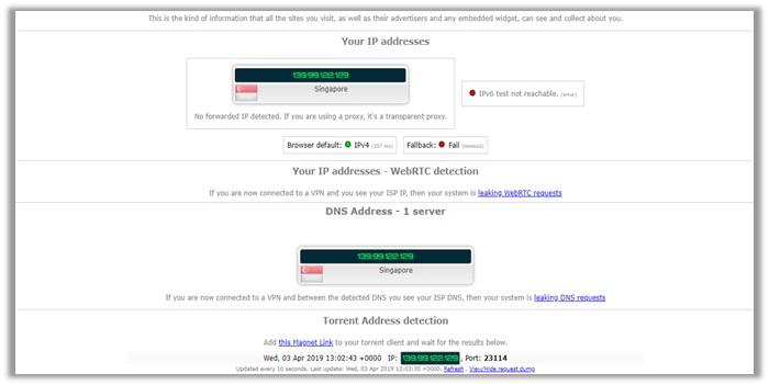 TunnelBear IPLeak Test Singapore