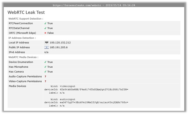 Browser Leaks – WebRTC Leak Test AVG Secure VPN