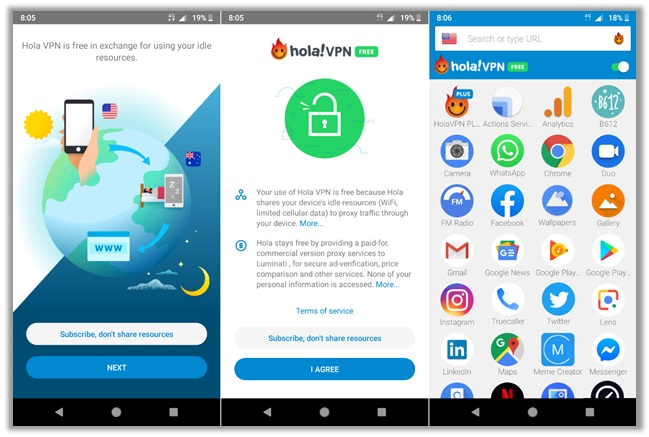 Hola VPN Android Application