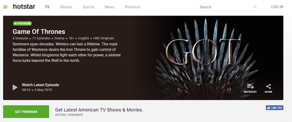 watch game of thrones on hotstar canada