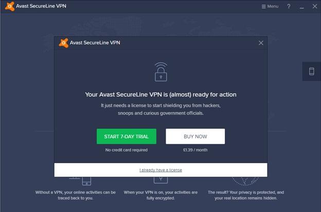 Avast Free Trial App Popup